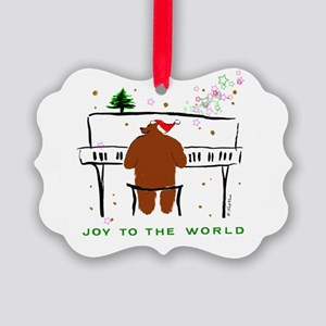 Santa Bear @ Piano Picture Ornament