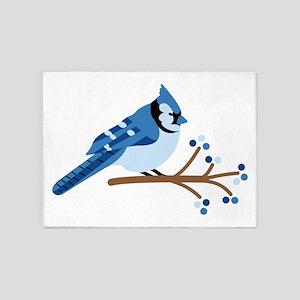 Christmas Blue Jays 5'x7'Area Rug