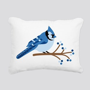 Christmas Blue Jays Rectangular Canvas Pillow