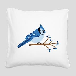 Christmas Blue Jays Square Canvas Pillow