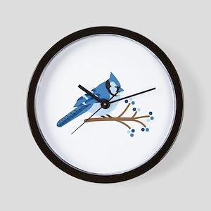 Christmas Blue Jays Wall Clock