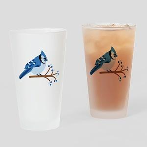 Christmas Blue Jays Drinking Glass
