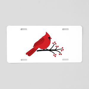 Christmas Cardinals Aluminum License Plate