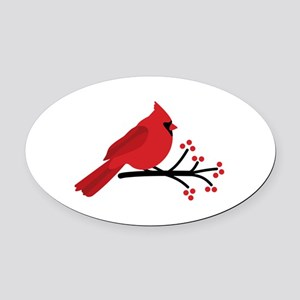 Christmas Cardinals Oval Car Magnet