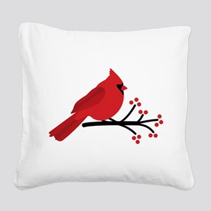 Christmas Cardinals Square Canvas Pillow