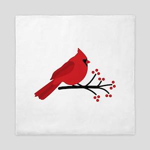 Christmas Cardinals Queen Duvet