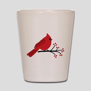 Christmas Cardinals Shot Glass