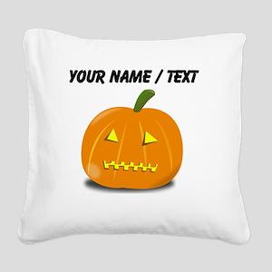 Custom Zipped Jackolantern Square Canvas Pillow