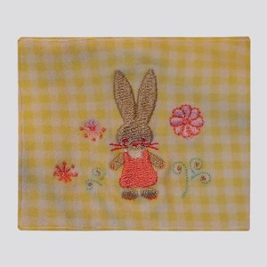 Yellow Gingham Baby Bunny  Throw Blanket