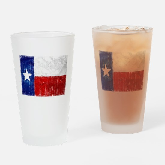 Texas Flag Distressed Drinking Glass