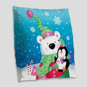 Polar Bear And Penguin Burlap Throw Pillow