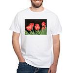 Red Tulips White T-Shirt