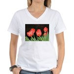 Red Tulips Women's V-Neck T-Shirt