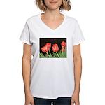 Red Tulips Women's V-Neck T-Shirt