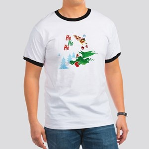 Cute Dragon Christmas  Ringer T