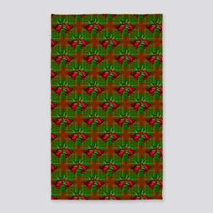 Christmas Bells And Holly 3'X5' Area Rug