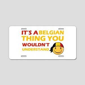 Belgian smiley designs Aluminum License Plate