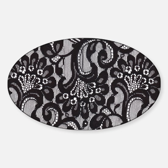 Black Lace Sticker (Oval)
