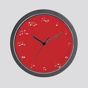 Red music notes Wall Clock