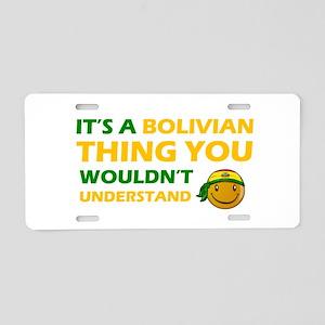 Bolivian smiley designs Aluminum License Plate