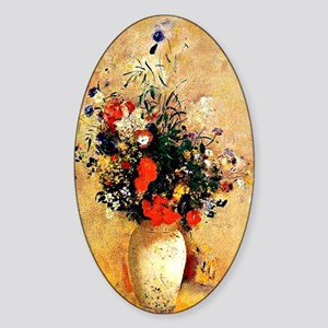 Vintage Floral Painting by Odilon R Sticker (Oval)