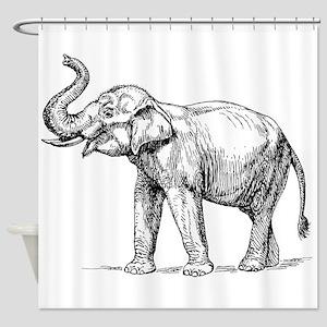Elephant Sketch Shower Curtain