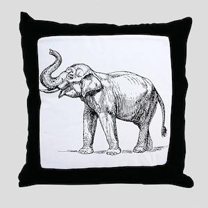 Elephant Sketch Throw Pillow
