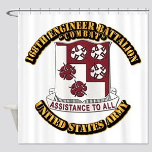 DUI - 168th Engineer Bn w Text Shower Curtain