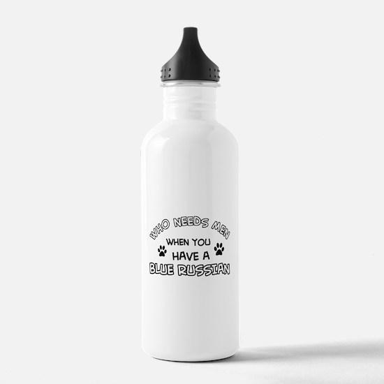 Blue Russian cat design Water Bottle