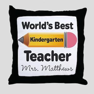 Personalized Kindergraten Teacher Throw Pillow