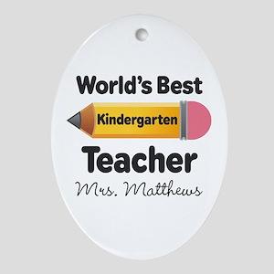 Personalized Kindergraten Teacher Ornament (Oval)