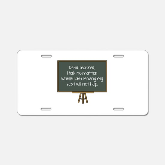 Dear Teacher Aluminum License Plate