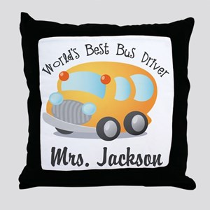 Personalized Bus Driver Throw Pillow