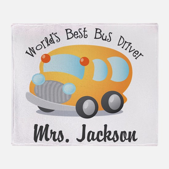 Personalized Bus Driver Throw Blanket