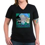 Ferrets! Women's V-Neck Dark T-Shirt