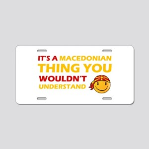 Macedonian smiley designs Aluminum License Plate