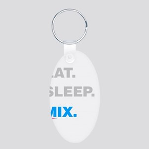 Eat Sleep Mix Aluminum Oval Keychain