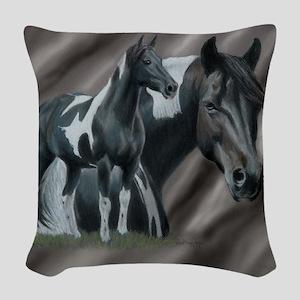 Pinto Horse Woven Throw Pillow