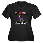 I Love Grandma Women's Plus Size V-Neck Dark T-Shi