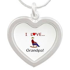 I Love Grandpa Silver Heart Necklace