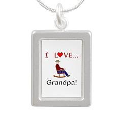 I Love Grandpa Silver Portrait Necklace