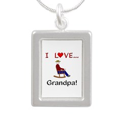 I Love Grandpa Silver Portrait Necklace