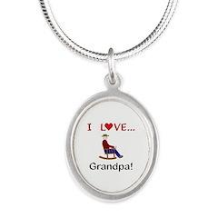 I Love Grandpa Silver Oval Necklace