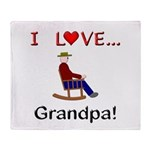 I Love Grandpa Throw Blanket