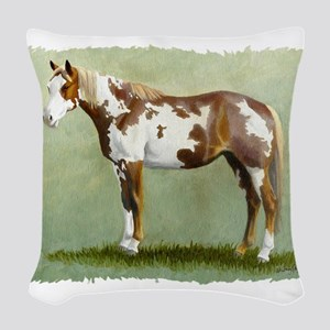 Paint horse Woven Throw Pillow
