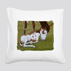 Paint Mare and Foal Square Canvas Pillow