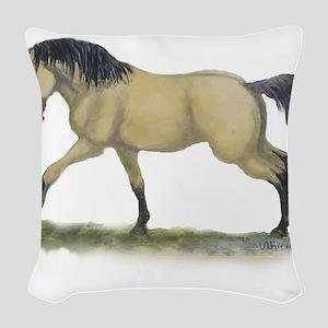 buckskin, running Woven Throw Pillow