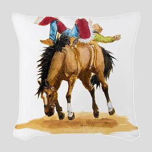 Bare Back Bronc Woven Throw Pillow