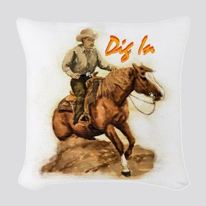 reining Horse sorrel Woven Throw Pillow