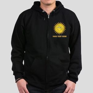 Sun with Custom Text. Zip Hoodie (dark)